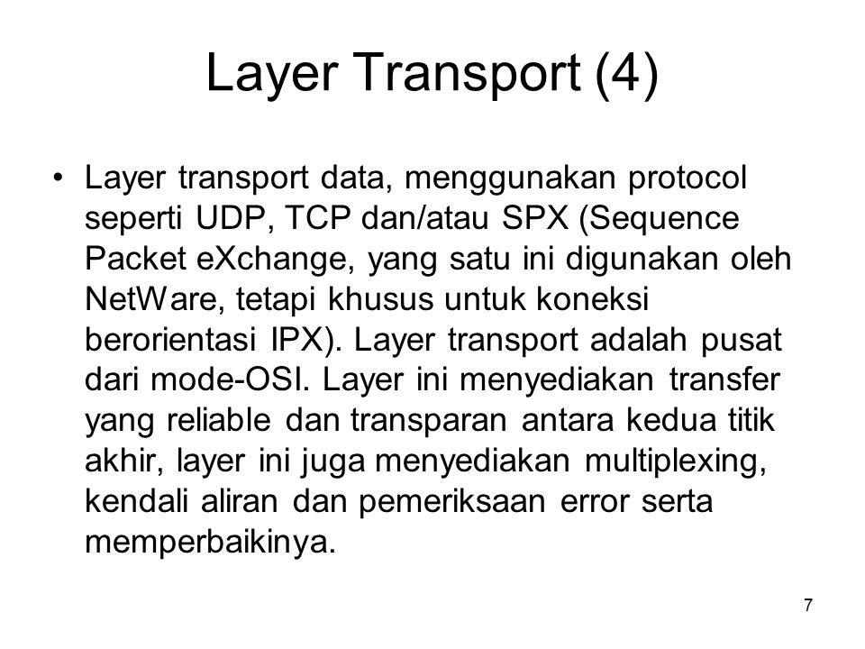 7 Layer Transport (4) Layer transport data, menggunakan protocol seperti UDP, TCP dan/atau SPX (Sequence Packet eXchange, yang satu ini digunakan oleh