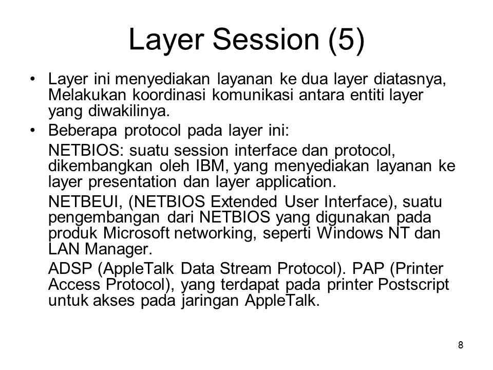 8 Layer Session (5) Layer ini menyediakan layanan ke dua layer diatasnya, Melakukan koordinasi komunikasi antara entiti layer yang diwakilinya. Bebera