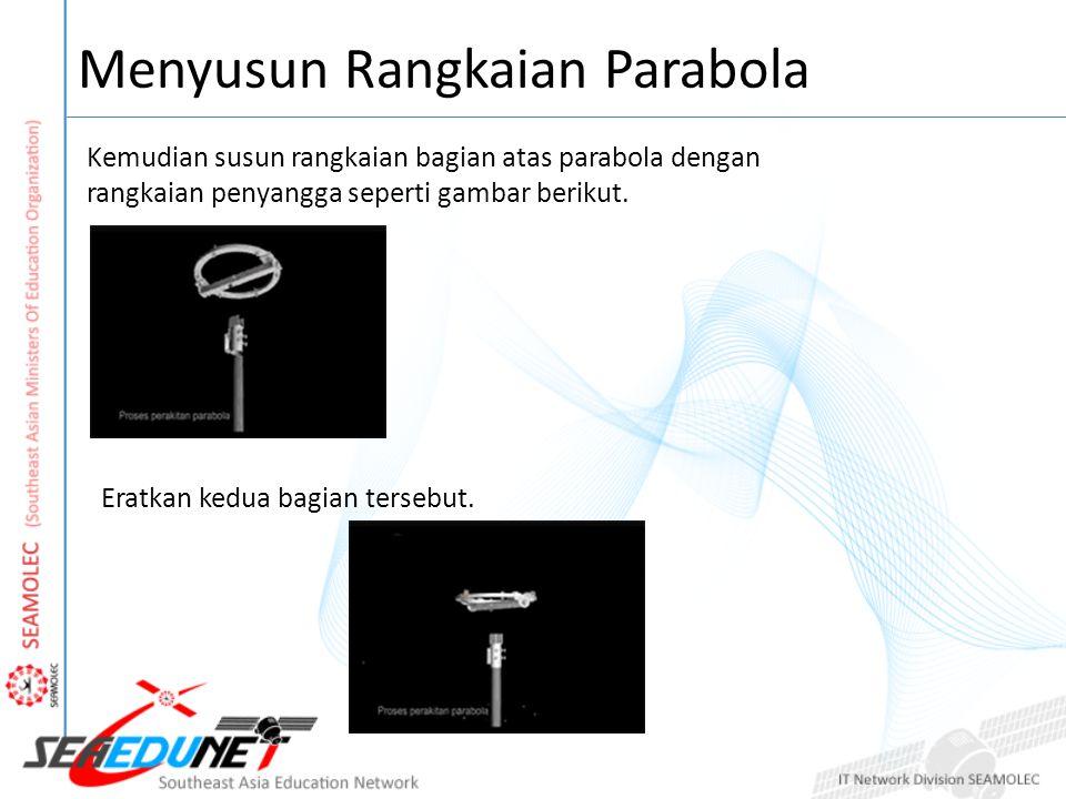 Menyusun Rangkaian Parabola Kemudian susun rangkaian bagian atas parabola dengan rangkaian penyangga seperti gambar berikut.