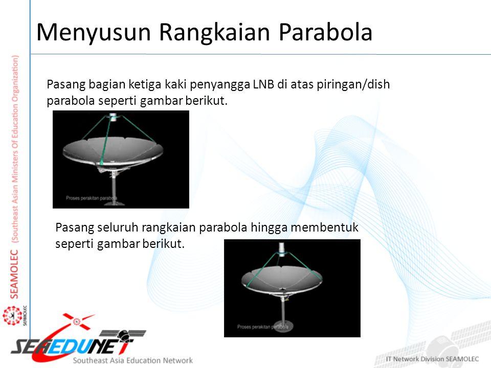 Menyusun Rangkaian Parabola Pasang bagian ketiga kaki penyangga LNB di atas piringan/dish parabola seperti gambar berikut.