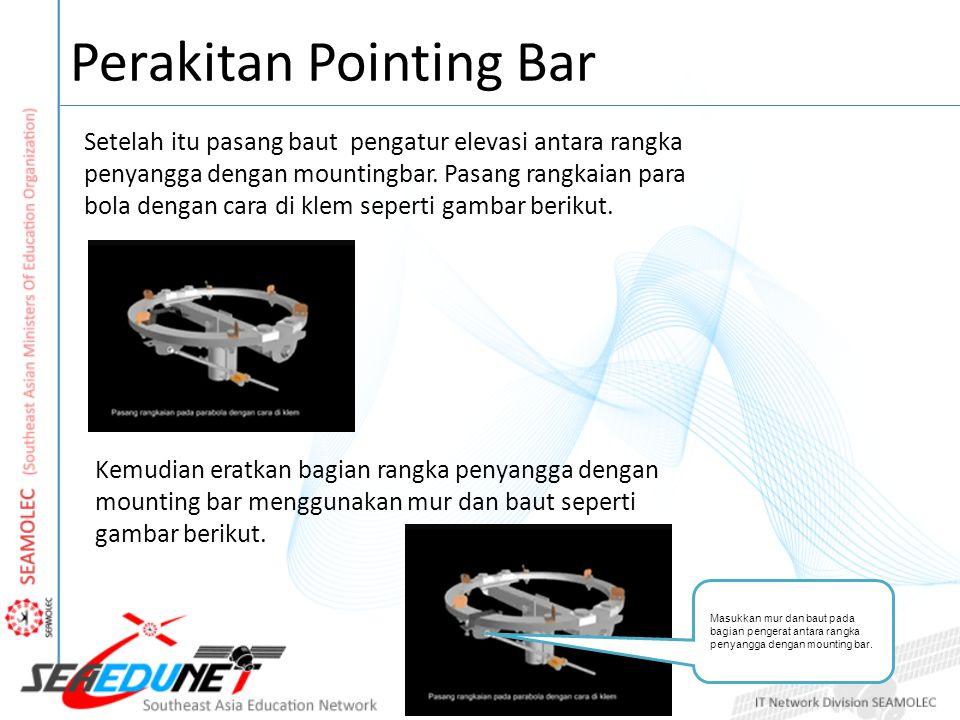 Perakitan Pointing Bar Setelah itu pasang baut pengatur elevasi antara rangka penyangga dengan mountingbar. Pasang rangkaian para bola dengan cara di