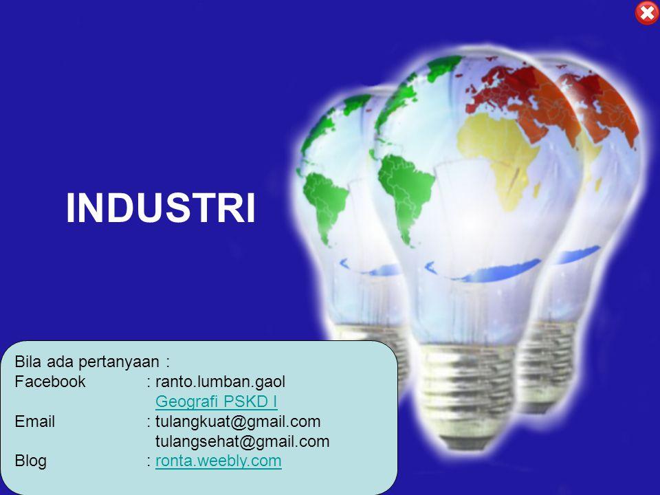 Faktor – Faktor Yang Mempengaruhi Penetuan Lokasi Industri Dalam menentukan lokasi industri ada dua faktor : Faktor Pokok - Bahan Mentah - Modal - Tenaga Kerja - Biaya Transportasi - Sumber Energi - Pemasaran Faktor Tambahan - Perundang-undangan - Iklim - Perpajakan - Persediaan Air