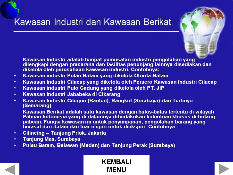 Kawasan Industri dan Kawasan Berikat Kawasan Industri adalah tempat pemusatan industri pengolahan yang dilengkapi dengan prasarana dan fasilitas penunjang lainnya disediakan dan dikelola oleh perusahaan kawasan industri.