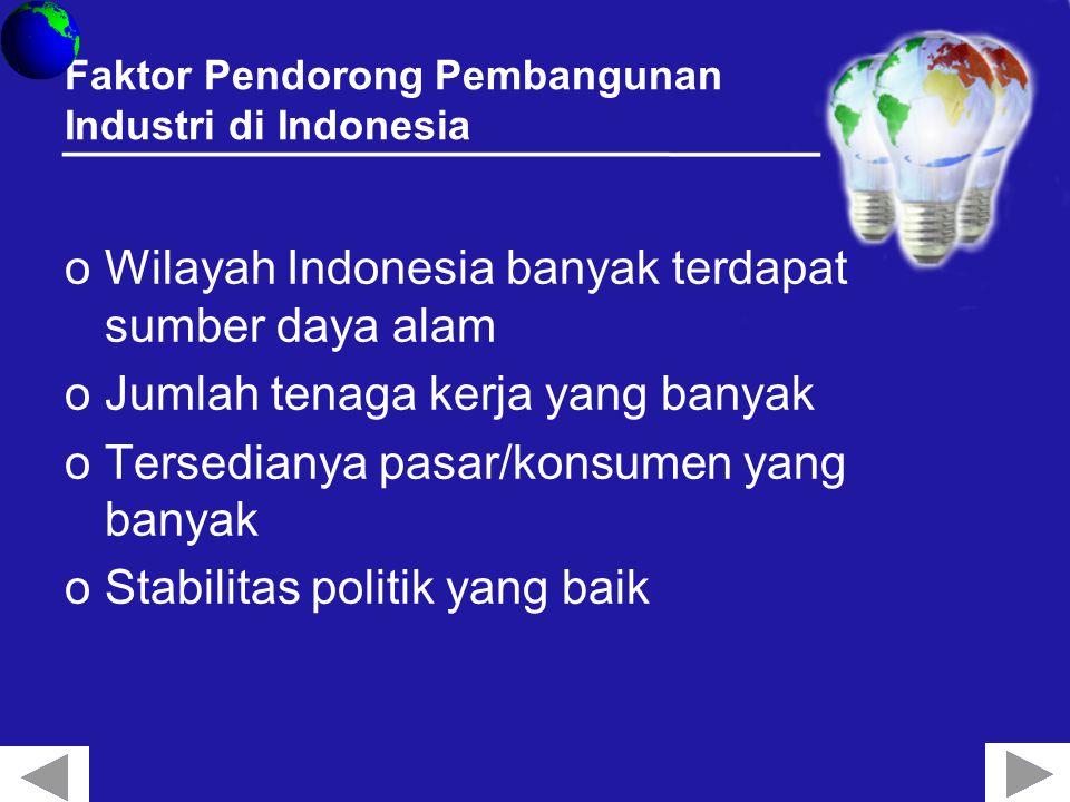 Faktor Pendorong Pembangunan Industri di Indonesia oWilayah Indonesia banyak terdapat sumber daya alam oJumlah tenaga kerja yang banyak oTersedianya pasar/konsumen yang banyak oStabilitas politik yang baik