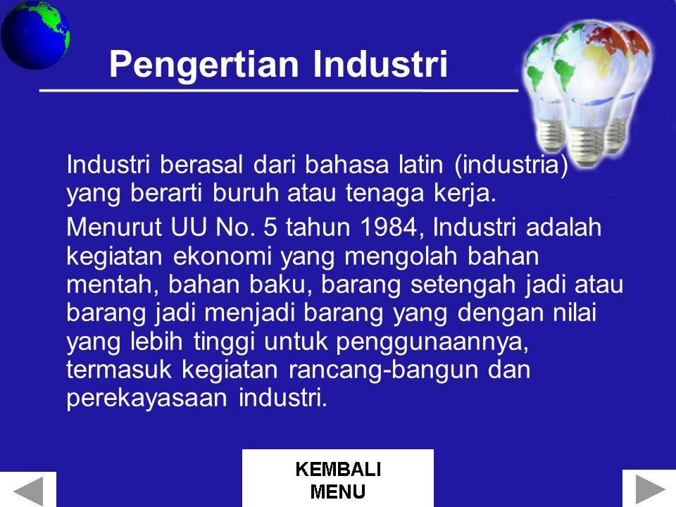 Jenis – Jenis Industri Berdasarkan bahan baku Berdasarkan jumlah tenaga kerja Berdasarkan bahan mentahnya Berdasarkan tahapan proses produksinya Berdasarkan hasil produksinya Berdasarkan daya tampung tenaga kerja