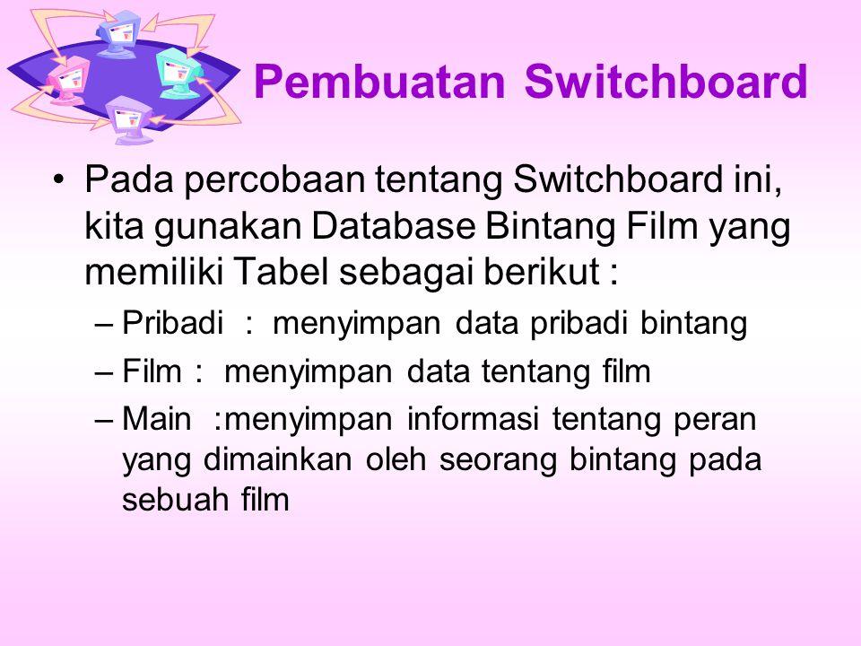 Pembuatan Switchboard Pada percobaan tentang Switchboard ini, kita gunakan Database Bintang Film yang memiliki Tabel sebagai berikut : –Pribadi : menyimpan data pribadi bintang –Film : menyimpan data tentang film –Main :menyimpan informasi tentang peran yang dimainkan oleh seorang bintang pada sebuah film
