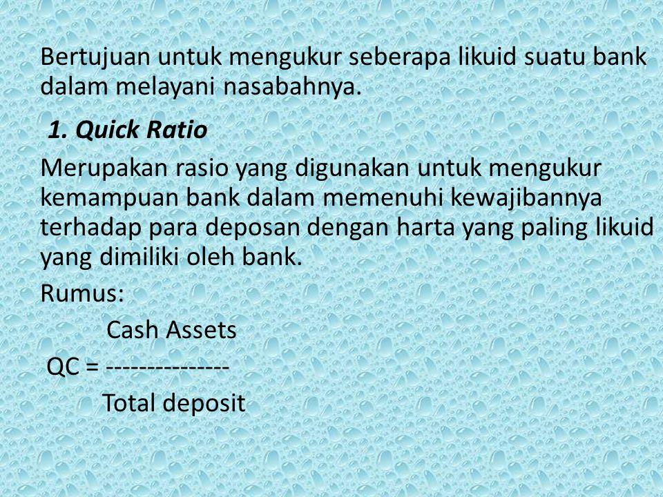 Bertujuan untuk mengukur seberapa likuid suatu bank dalam melayani nasabahnya.