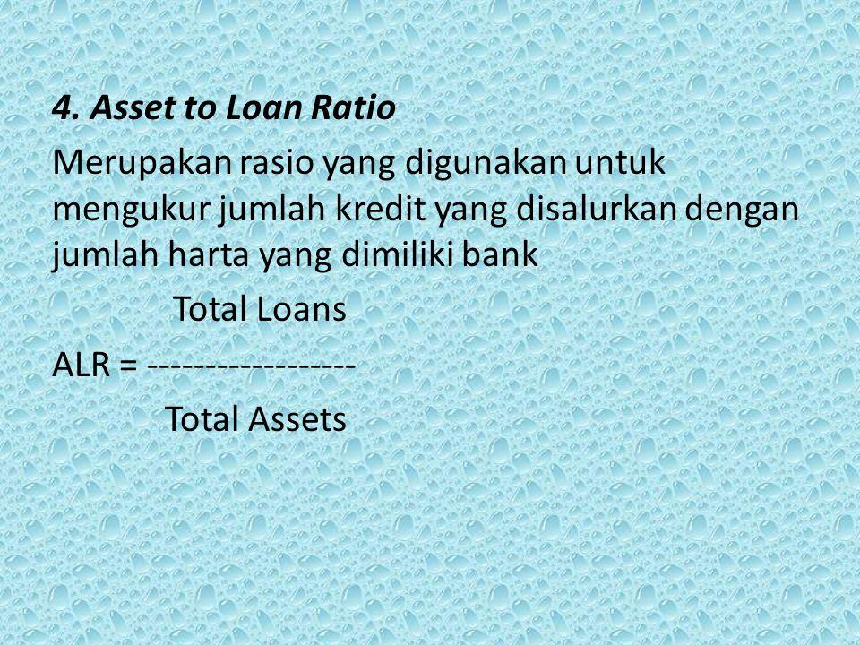 4. Asset to Loan Ratio Merupakan rasio yang digunakan untuk mengukur jumlah kredit yang disalurkan dengan jumlah harta yang dimiliki bank Total Loans