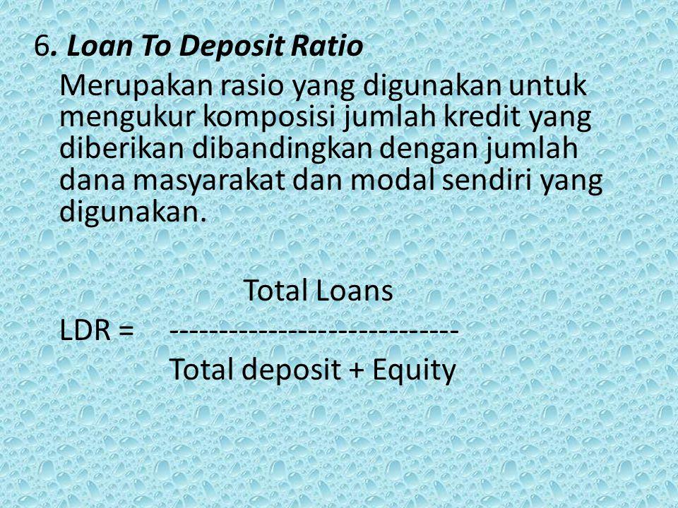 6. Loan To Deposit Ratio Merupakan rasio yang digunakan untuk mengukur komposisi jumlah kredit yang diberikan dibandingkan dengan jumlah dana masyarak