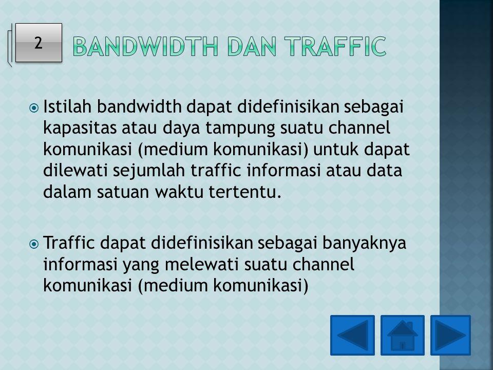  Istilah bandwidth dapat didefinisikan sebagai kapasitas atau daya tampung suatu channel komunikasi (medium komunikasi) untuk dapat dilewati sejumlah