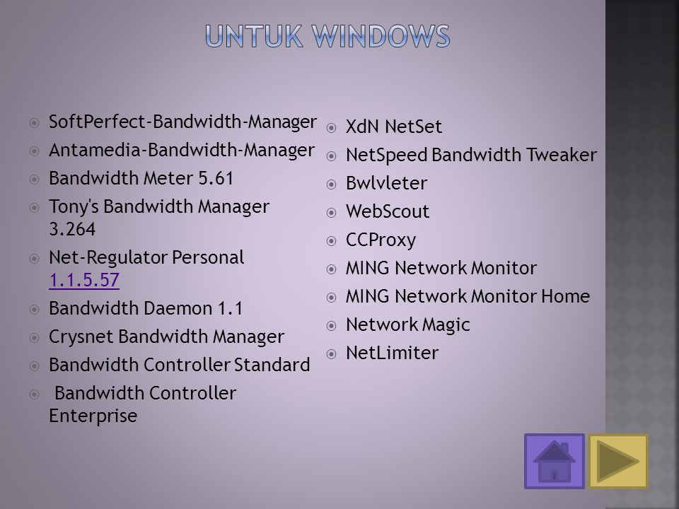  SoftPerfect-Bandwidth-Manager  Antamedia-Bandwidth-Manager  Bandwidth Meter 5.61  Tony's Bandwidth Manager 3.264  Net-Regulator Personal 1.1.5.5