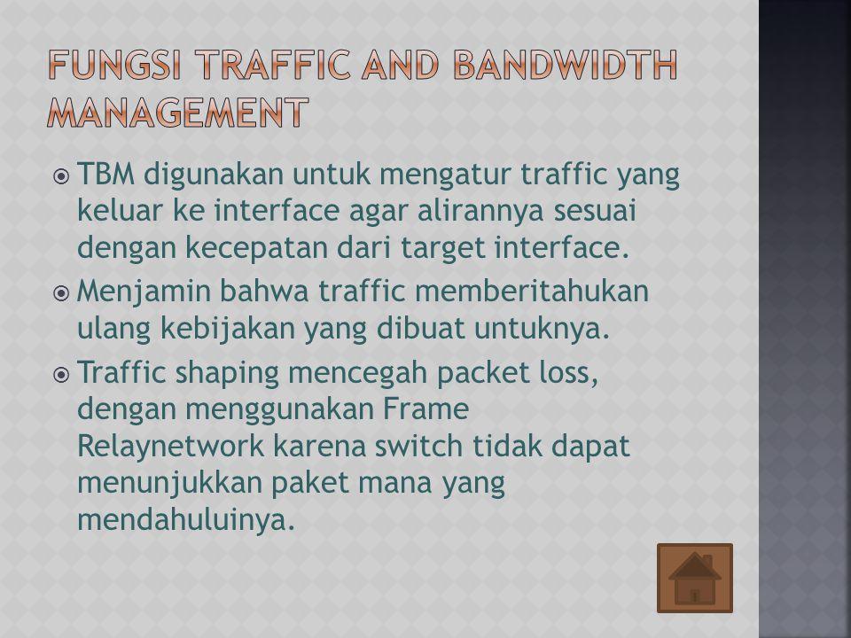  TBM digunakan untuk mengatur traffic yang keluar ke interface agar alirannya sesuai dengan kecepatan dari target interface.  Menjamin bahwa traffic