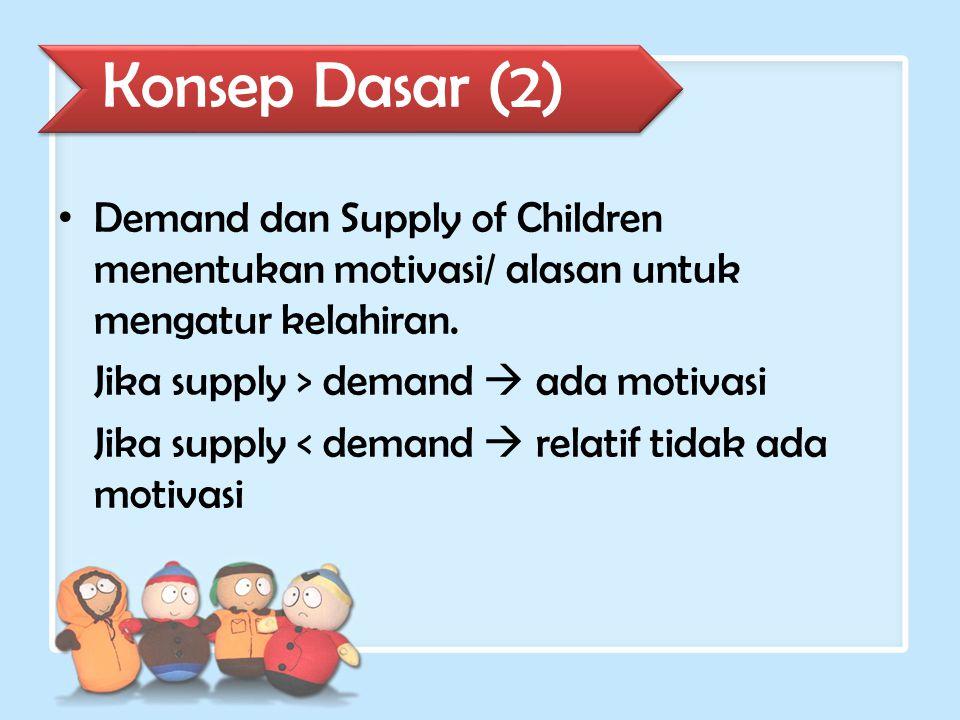 Demand dan Supply of Children menentukan motivasi/ alasan untuk mengatur kelahiran. Jika supply > demand  ada motivasi Jika supply < demand  relatif