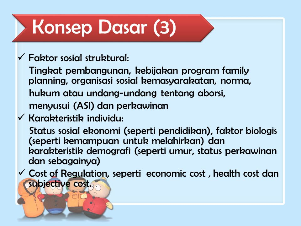 Social- structural factors Individual characteristics Potential Supply of Children Demand for Children Motivation to control fertility Cost of regulation Use of fertility regulation Additional fertility Konsep Dasar (4)