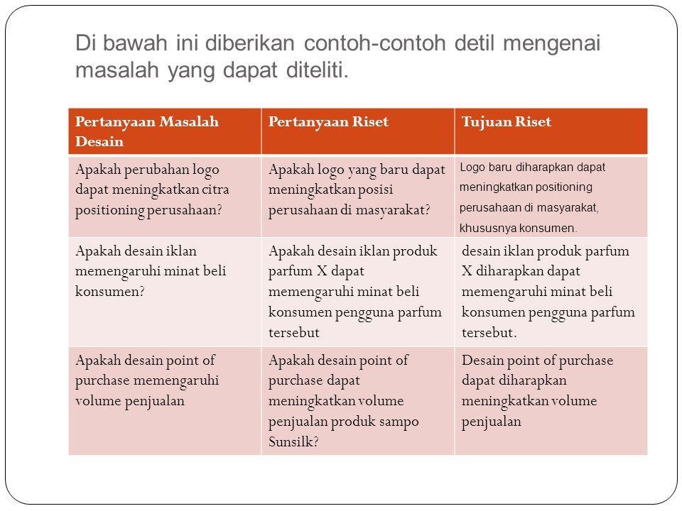 Di bawah ini diberikan contoh-contoh detil mengenai masalah yang dapat diteliti.