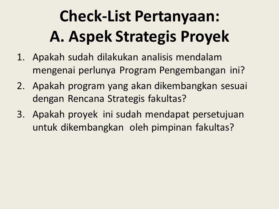 Check-List Pertanyaan: A. Aspek Strategis Proyek 1.Apakah sudah dilakukan analisis mendalam mengenai perlunya Program Pengembangan ini? 2.Apakah progr