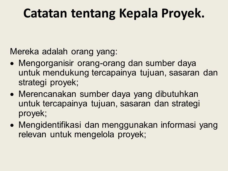 Catatan tentang Kepala Proyek.