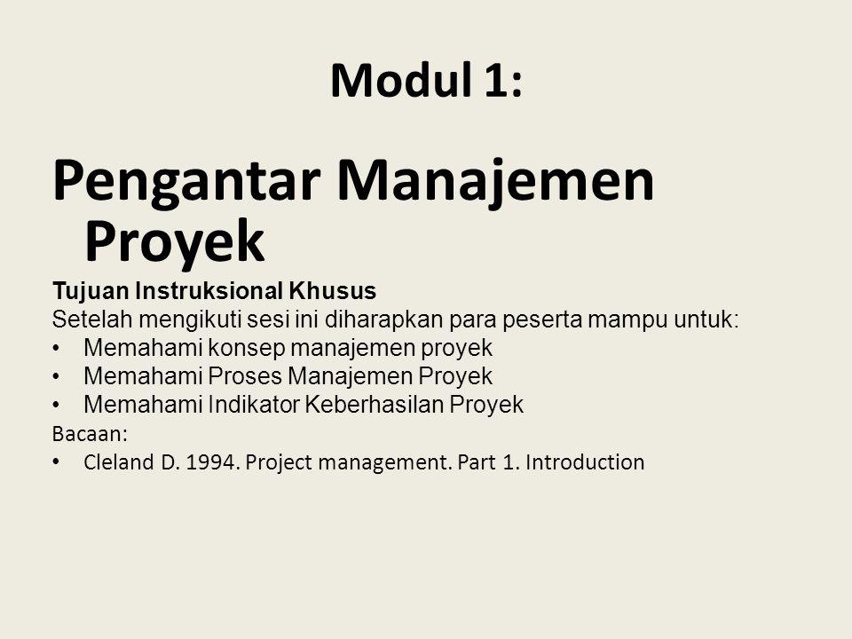 Modul 1: Pengantar Manajemen Proyek Tujuan Instruksional Khusus Setelah mengikuti sesi ini diharapkan para peserta mampu untuk: Memahami konsep manajemen proyek Memahami Proses Manajemen Proyek Memahami Indikator Keberhasilan Proyek Bacaan: Cleland D.