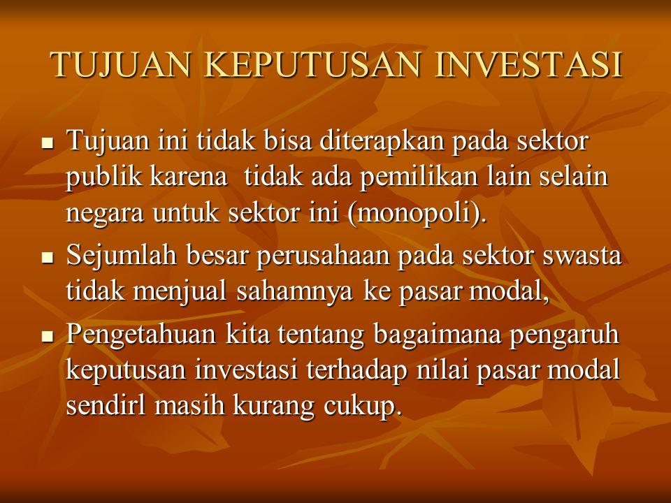 TUJUAN KEPUTUSAN INVESTASI Tujuan ini tidak bisa diterapkan pada sektor publik karena tidak ada pemilikan lain selain negara untuk sektor ini (monopol