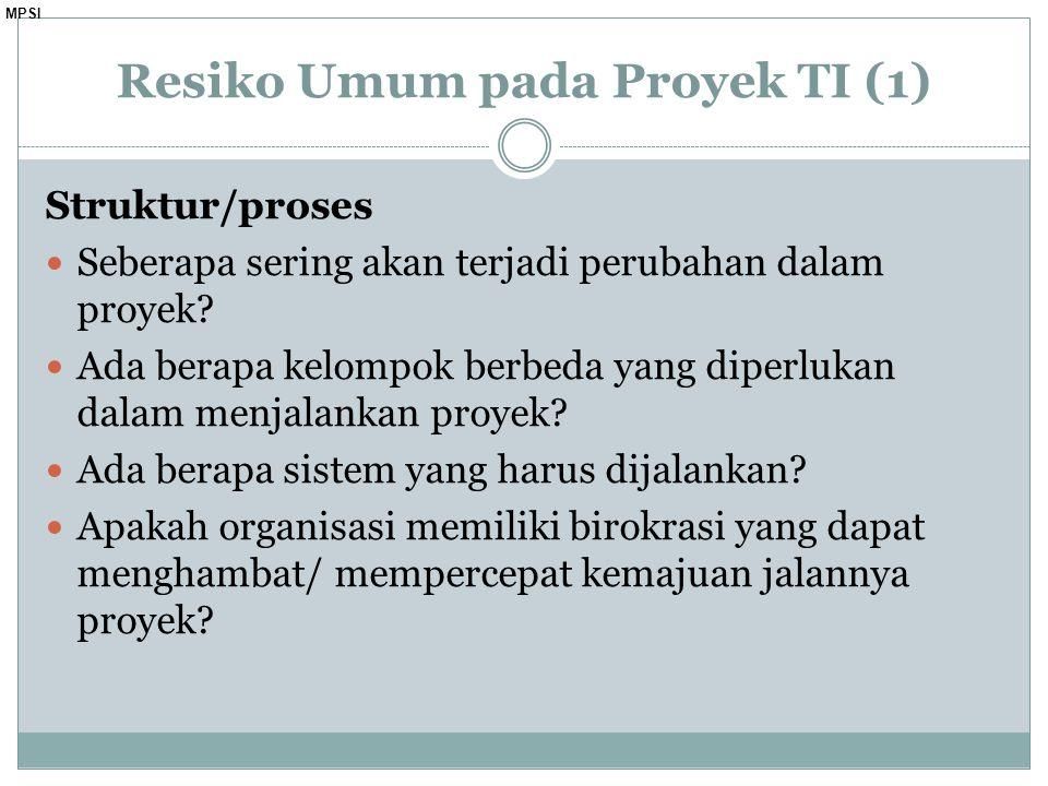 MPSI Struktur/proses Seberapa sering akan terjadi perubahan dalam proyek.