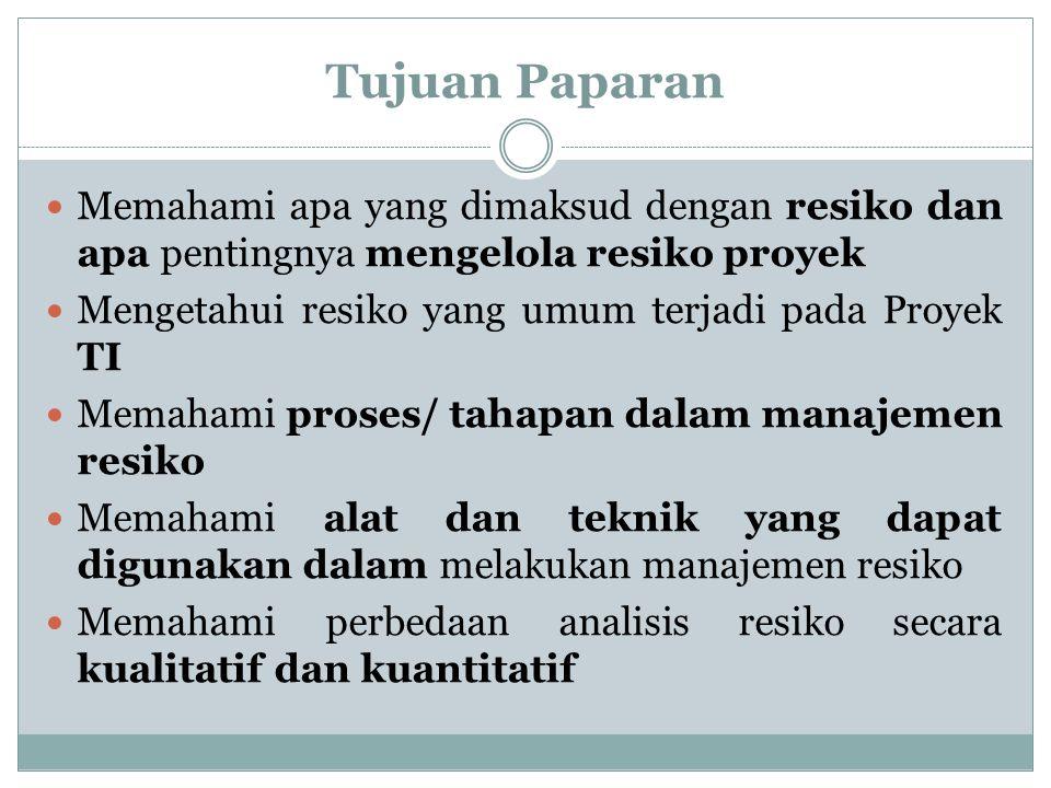 Definisi MPSI Resiko : kemungkinan akan terjadinya kerugian (negatif) Resiko Proyek : ketidakpastian yang dapat berdampak positif ataupun negatif Manajemen Proyek : memahami masalah masalah yang mungkin terjadi pada proyek dan bagaimana masalah-masalah tersebut akan menghalangi/menghambat keberhasilan proyek