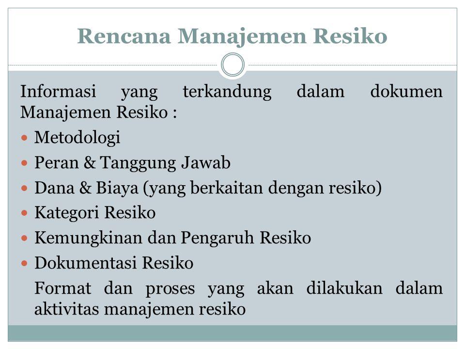 RMMM PLAN R ISK = Risiko M ITIGATING = Menanggulangi M ONITORING = Memonitor M ANAGEMENT PLAN = Rencana Pengelolaan MPSI
