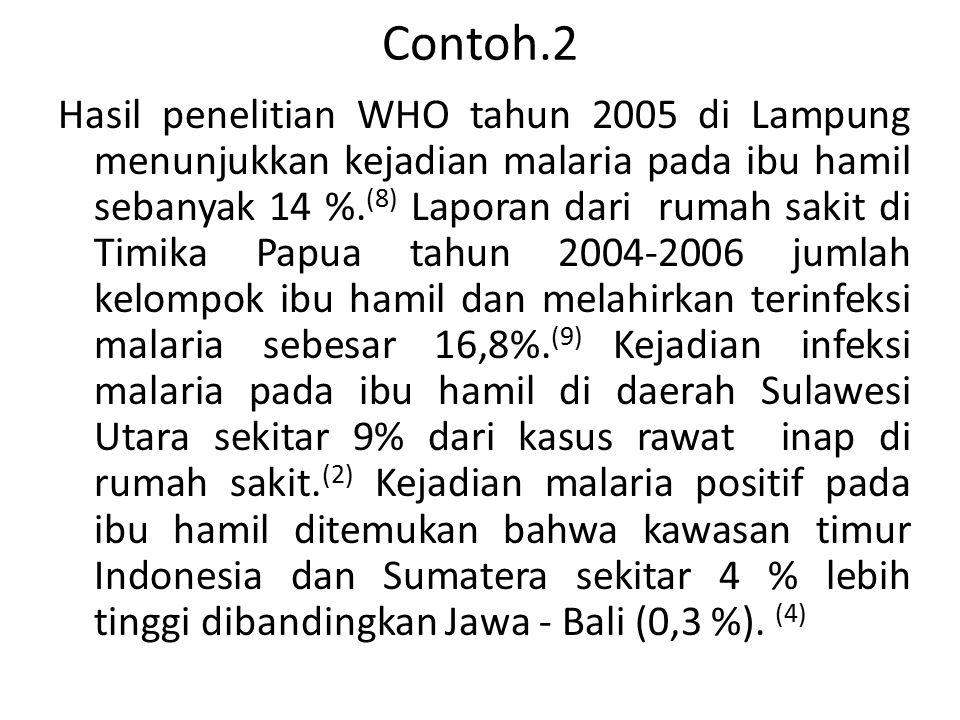 Contoh.2 Hasil penelitian WHO tahun 2005 di Lampung menunjukkan kejadian malaria pada ibu hamil sebanyak 14 %. (8) Laporan dari rumah sakit di Timika