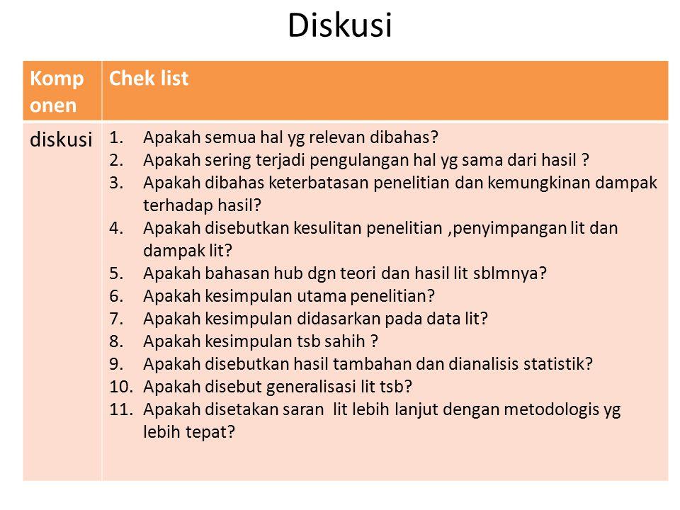 Diskusi Komp onen Chek list diskusi 1.Apakah semua hal yg relevan dibahas? 2.Apakah sering terjadi pengulangan hal yg sama dari hasil ? 3.Apakah dibah