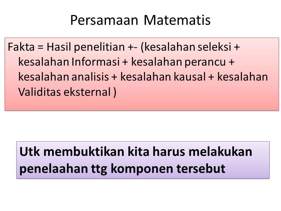 Persamaan Matematis Fakta = Hasil penelitian +- (kesalahan seleksi + kesalahan Informasi + kesalahan perancu + kesalahan analisis + kesalahan kausal +