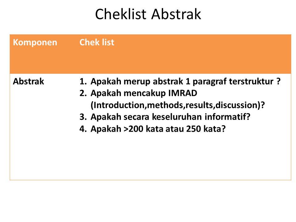 Pendahuluan KomponenChek list Pendahuluan1.Apakah terdiri dari 2 paragraf atau 2 bagian.