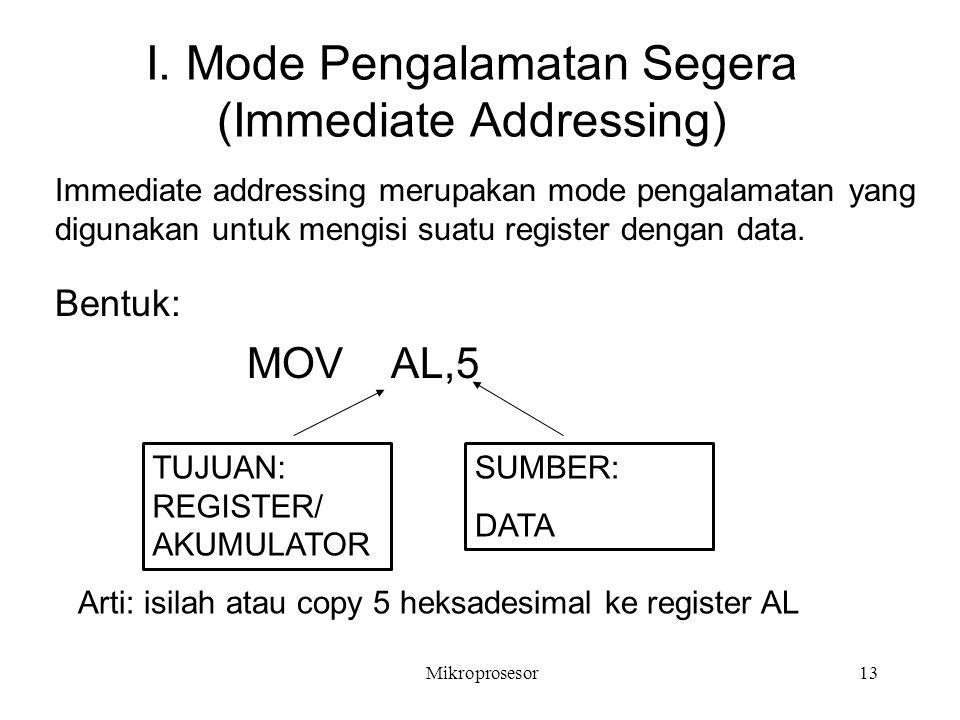 I. Mode Pengalamatan Segera (Immediate Addressing) Bentuk: MOV AL,5 SUMBER: DATA TUJUAN: REGISTER/ AKUMULATOR Immediate addressing merupakan mode peng