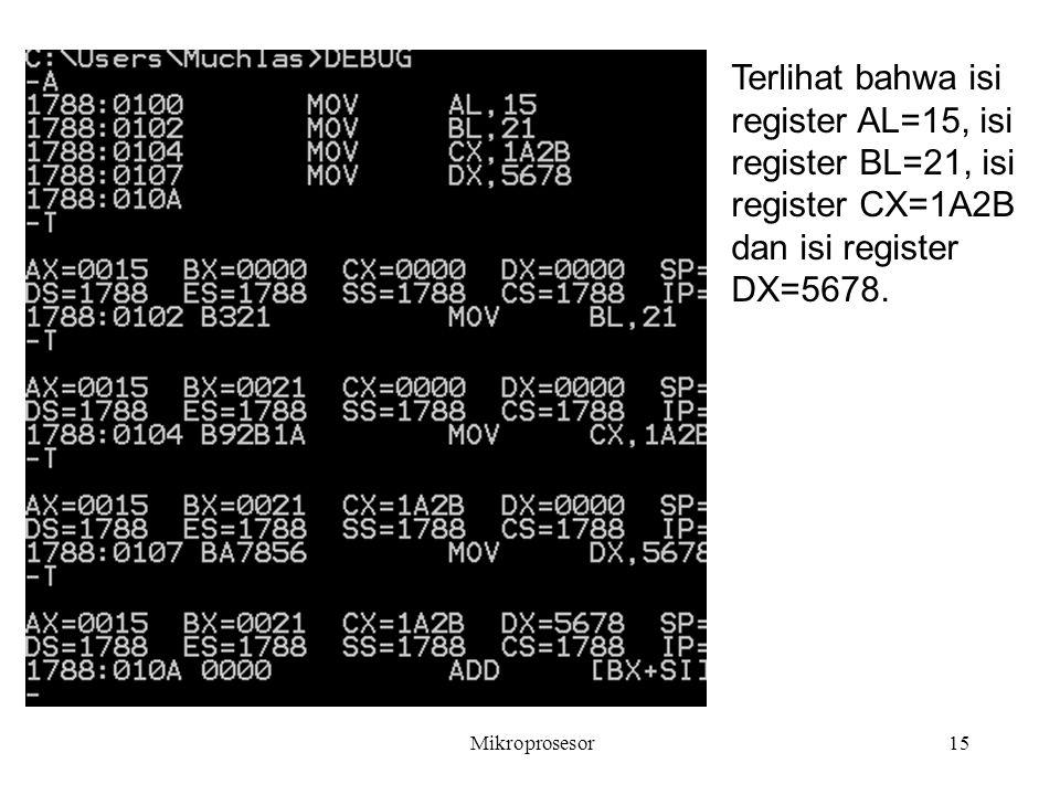 Mikroprosesor15 Terlihat bahwa isi register AL=15, isi register BL=21, isi register CX=1A2B dan isi register DX=5678.