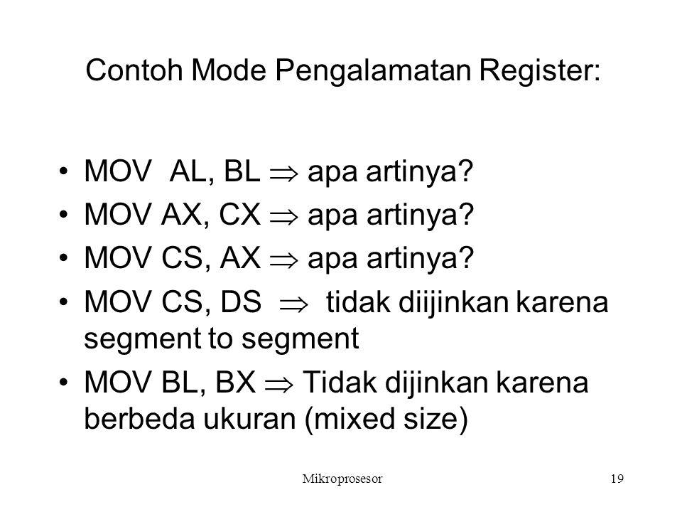Contoh Mode Pengalamatan Register: MOV AL, BL  apa artinya? MOV AX, CX  apa artinya? MOV CS, AX  apa artinya? MOV CS, DS  tidak diijinkan karena s