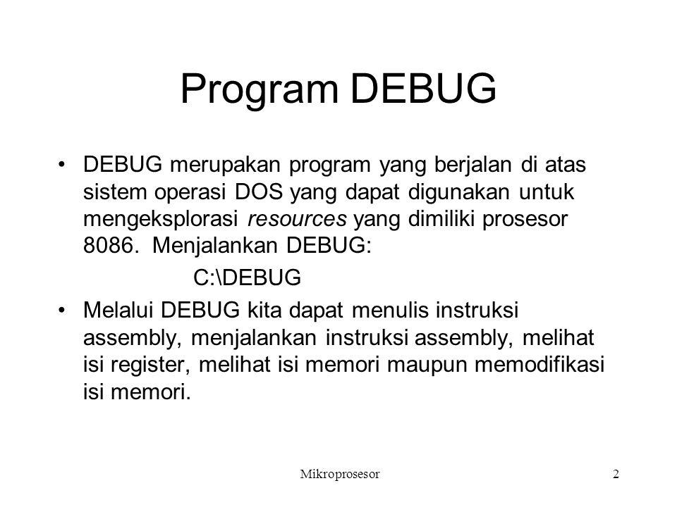 Program DEBUG DEBUG merupakan program yang berjalan di atas sistem operasi DOS yang dapat digunakan untuk mengeksplorasi resources yang dimiliki prose