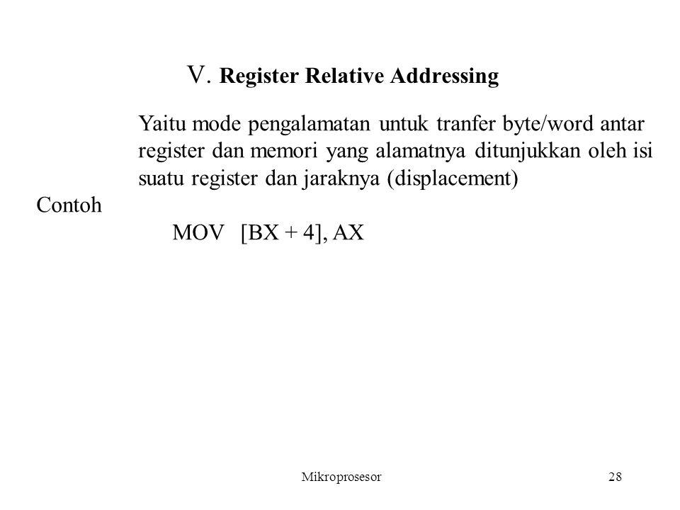 V. Register Relative Addressing Yaitu mode pengalamatan untuk tranfer byte/word antar register dan memori yang alamatnya ditunjukkan oleh isi suatu re