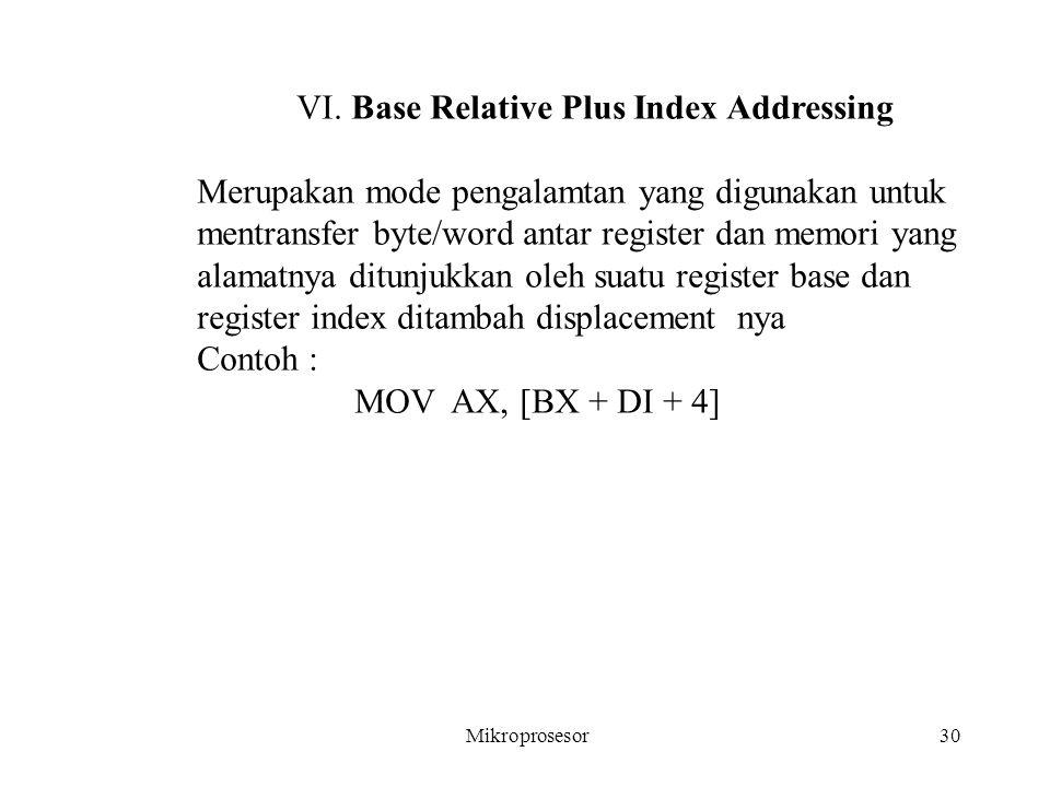 VI. Base Relative Plus Index Addressing Merupakan mode pengalamtan yang digunakan untuk mentransfer byte/word antar register dan memori yang alamatnya