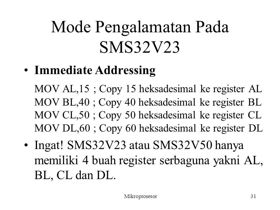 Mode Pengalamatan Pada SMS32V23 Immediate Addressing MOV AL,15 ; Copy 15 heksadesimal ke register AL MOV BL,40 ; Copy 40 heksadesimal ke register BL M