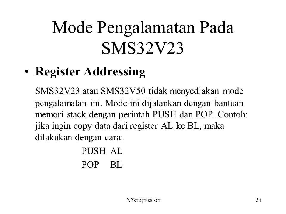 Mode Pengalamatan Pada SMS32V23 Register Addressing SMS32V23 atau SMS32V50 tidak menyediakan mode pengalamatan ini. Mode ini dijalankan dengan bantuan