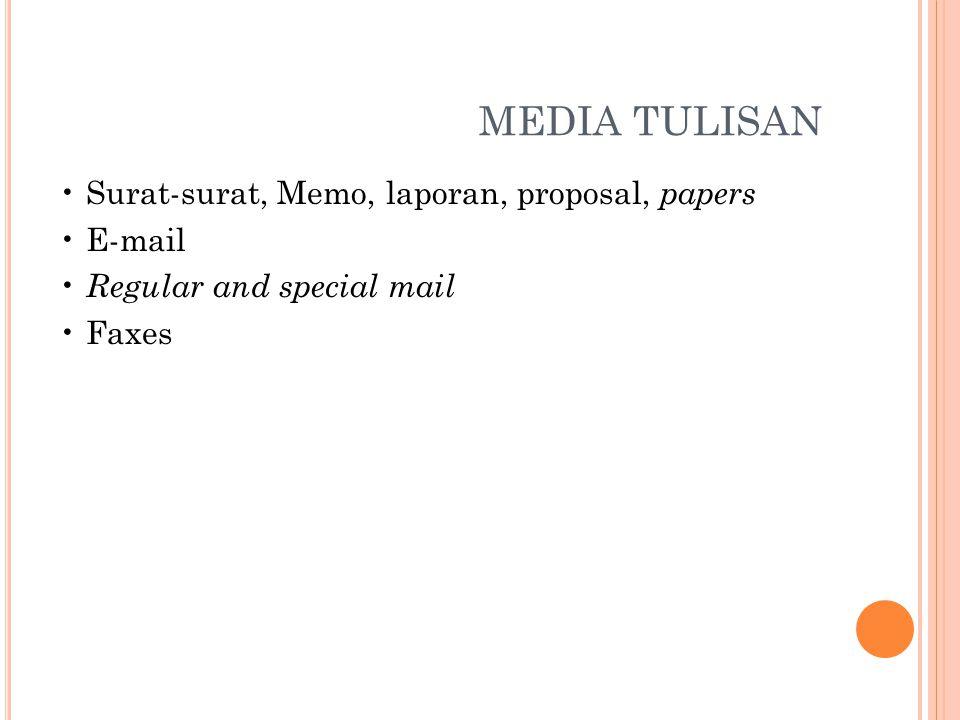 MEDIA TULISAN Surat-surat, Memo, laporan, proposal, papers E-mail Regular and special mail Faxes