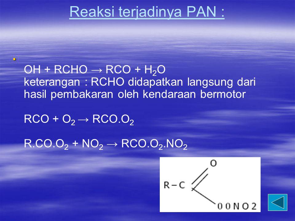 Reaksi terjadinya PAN :   OH + RCHO → RCO + H 2 O keterangan : RCHO didapatkan langsung dari hasil pembakaran oleh kendaraan bermotor RCO + O 2 → RC