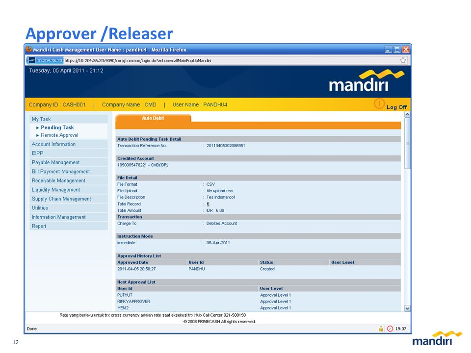 12 Approver /Releaser
