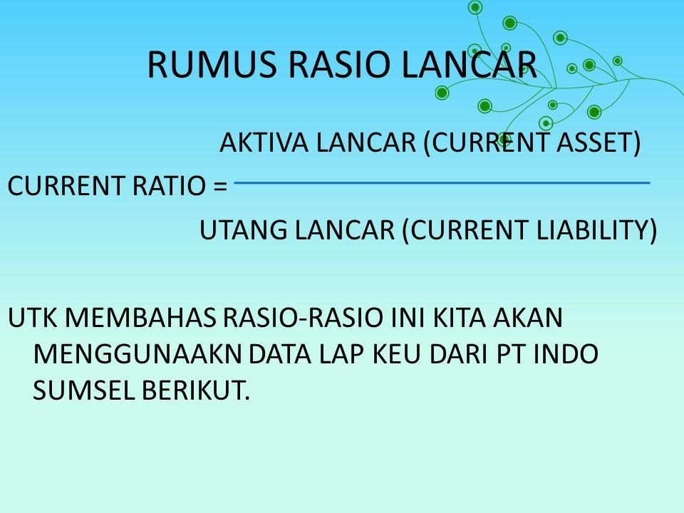 RUMUS RASIO LANCAR AKTIVA LANCAR (CURRENT ASSET) CURRENT RATIO = UTANG LANCAR (CURRENT LIABILITY) UTK MEMBAHAS RASIO-RASIO INI KITA AKAN MENGGUNAAKN D
