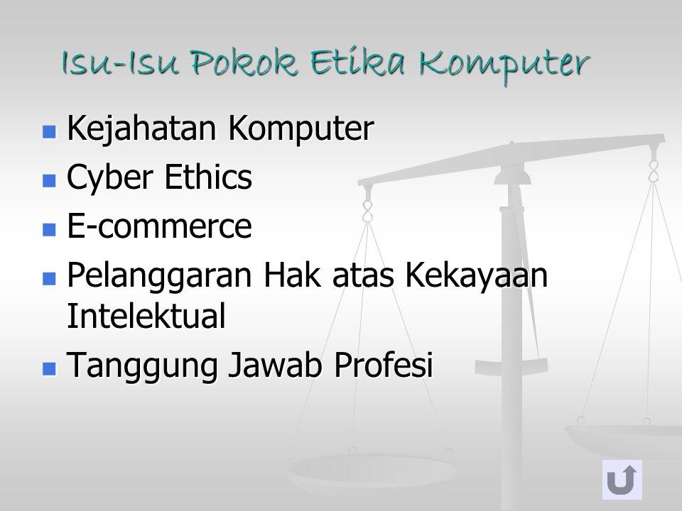 Isu-Isu Pokok Etika Komputer Kejahatan Komputer Kejahatan Komputer Cyber Ethics Cyber Ethics E-commerce E-commerce Pelanggaran Hak atas Kekayaan Intel