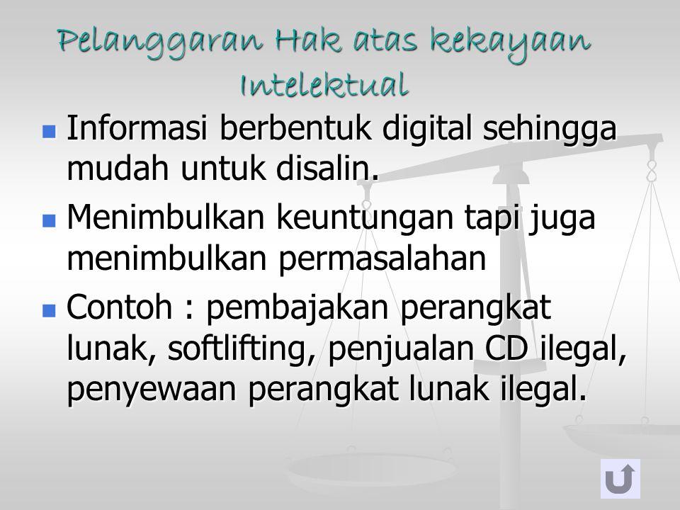 Pelanggaran Hak atas kekayaan Intelektual Informasi berbentuk digital sehingga mudah untuk disalin. Informasi berbentuk digital sehingga mudah untuk d