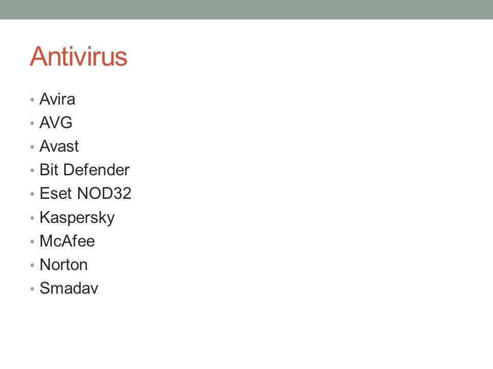 Antivirus Avira AVG Avast Bit Defender Eset NOD32 Kaspersky McAfee Norton Smadav