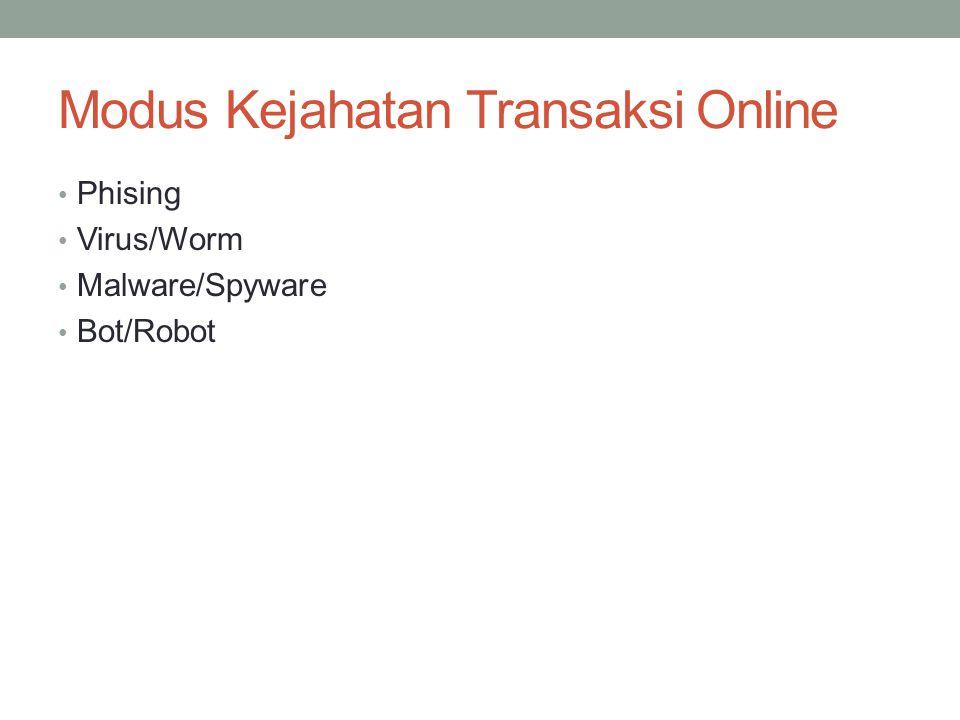 Modus Kejahatan Transaksi Online Phising Virus/Worm Malware/Spyware Bot/Robot