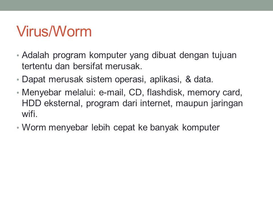 Virus/Worm Adalah program komputer yang dibuat dengan tujuan tertentu dan bersifat merusak.