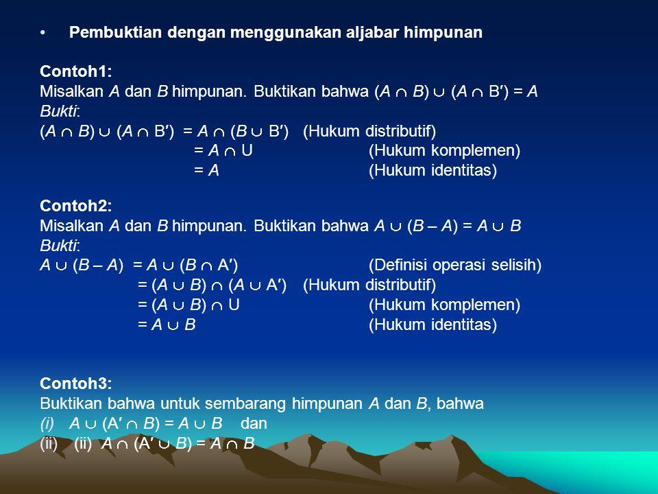 Pembuktian dengan menggunakan aljabar himpunan Contoh1: Misalkan A dan B himpunan. Buktikan bahwa (A  B)  (A  B′) = A Bukti: (A  B)  (A  B′) = A