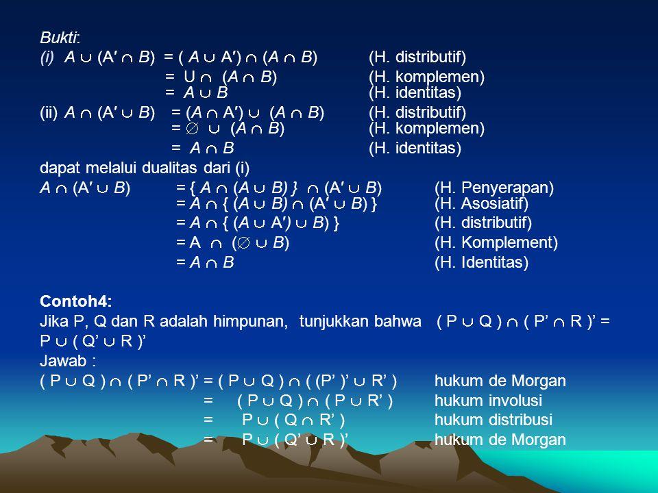 Bukti: (i)A  (A′  B) = ( A  A′)  (A  B) (H. distributif) = U  (A  B)(H. komplemen) = A  B(H. identitas) (ii)A  (A′  B) = (A  A′)  (A  B)(