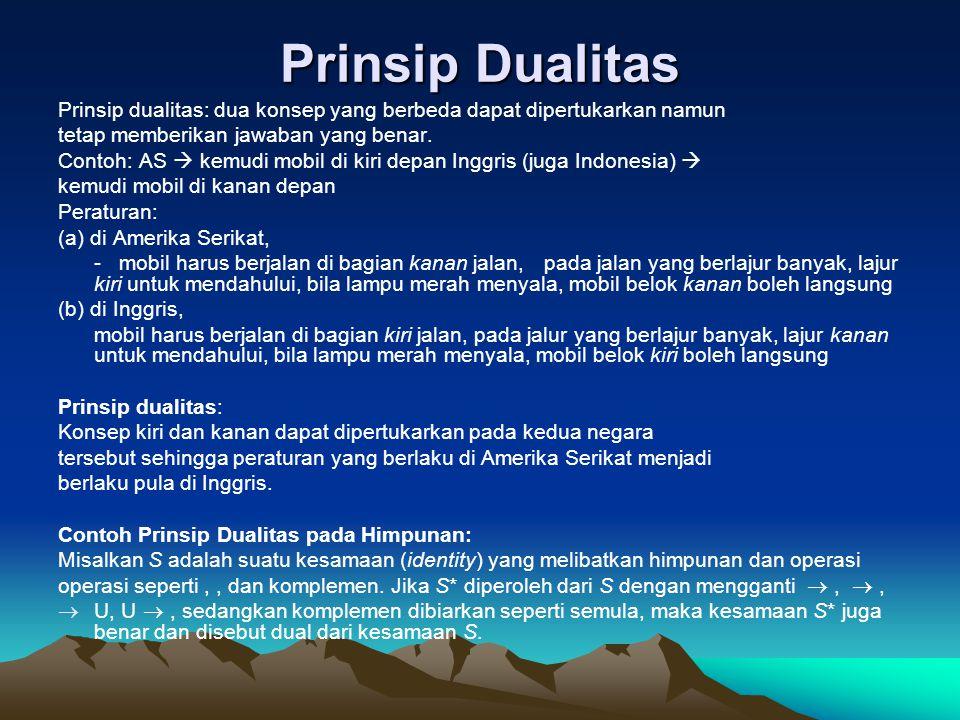 Prinsip Dualitas Prinsip dualitas: dua konsep yang berbeda dapat dipertukarkan namun tetap memberikan jawaban yang benar. Contoh: AS  kemudi mobil di